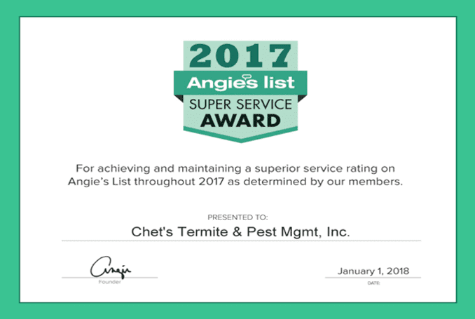 2017 Angie's List Certificate