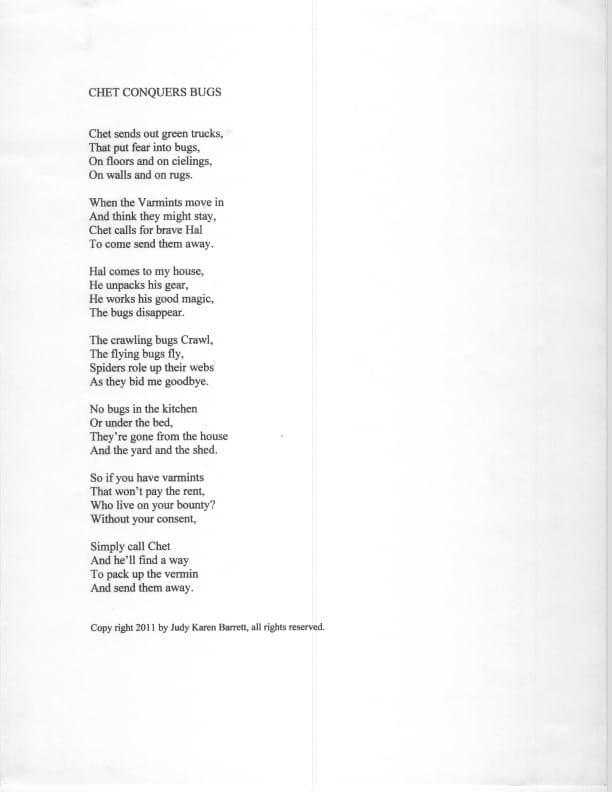 Judy Barrett's Poem